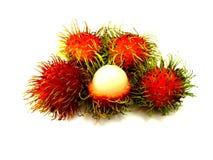 Süßes köstliches des frischen Rambutan auf weißem Hintergrund Lizenzfreie Stockfotografie