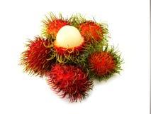 Süßes köstliches des frischen Rambutan auf weißem Hintergrund Stockfoto