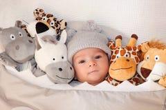 Süßes kleines Baby, das auf dem Bett umgeben von den netten Safariplüschtieren liegt Lizenzfreies Stockfoto