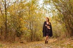 Süßes Mädchen im Herbstwald, -einsamkeit und -melancholie lizenzfreie stockbilder