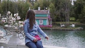 Süßes Mädchen sitzt nahe einer blühenden Magnolie und dreht sich, um die Vögel zu betrachten, die weg fliegen, dann zieht ihre Ha stock footage