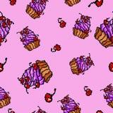 Süßes Muster der kleinen Kuchen des Vektors Lizenzfreie Stockbilder