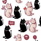 Süßes nahtloses Muster der romantischen netten schwarzen weißen lustigen Katze, Heiratseinladungskartenhintergrund, Illustrations vektor abbildung