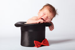 Süßes nettes Baby im silk Hut Lizenzfreies Stockbild