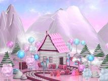 Süßes Süßigkeitshaus umgeben durch Lutscher, Zuckerstangen und Karamele Illustration der Fantasielebensmittel-Landschaft 3D Lizenzfreie Stockfotografie