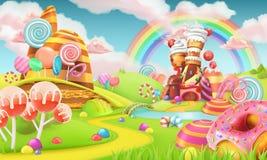 Süßes Süßigkeitsland Karikatur-Spiel-Hintergrund Vektor 3d