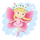 Süßes Schmetterlingsmädchen in einem rosa Kleid Stockbild
