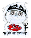 Süßes sonst gibt's Saures Halloween-Karikaturkatzen-Bleistiftskizze Lizenzfreie Stockfotos