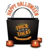 Süßes sonst gibt's Saures Halloween-Tasche mit grünem Mond Lizenzfreies Stockfoto