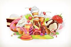 Süßes System Süßigkeiten und Nachtische, Vektorillustration stock abbildung