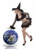 Süßes und natürliches Mädchen kleidete oben für Halloween an Lizenzfreie Stockfotografie