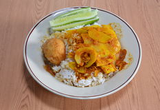 Süßes und saures Ei mit Bambusschoß des würzigen gelben Currys auf Reis Stockfotografie