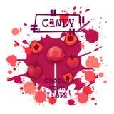 Süßigkeit Cherry Lolly Dessert Colorful Icon Choose Ihr Geschmack-Café-Plakat stock abbildung