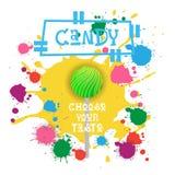 Süßigkeit Lolly Dessert Colorful Icon Choose Ihr Geschmack-Café-Plakat lizenzfreie abbildung