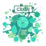 Süßigkeit tadellose Lolly Dessert Colorful Icon Choose Ihr Geschmack-Café-Plakat vektor abbildung