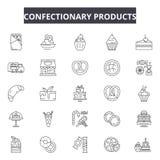 Süßigkeiten Produktserie Ikonen, Zeichen, Vektorsatz, Entwurfsillustrationskonzept vektor abbildung
