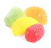 Süßigkeiten und Bonbons Frucht gewürztes Chewies getrennt Stockbild