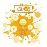 Süßigkeits-Banane Lolly Dessert Colorful Icon Choose Ihr Geschmack-Café-Plakat stock abbildung