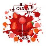 Süßigkeits-Erdbeere Lolly Dessert Colorful Icon Choose Ihr Geschmack-Café-Plakat vektor abbildung
