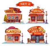 Süßigkeits-, Geschäft für Haustiere, Pizzeria und Friseursalon Vektor Stockfotos