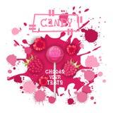 Süßigkeits-Himbeere Lolly Dessert Colorful Icon Choose Ihr Geschmack-Café-Plakat stock abbildung