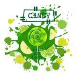 Süßigkeits-Kalk und Apple Lolly Dessert Colorful Icon Choose Ihr Geschmack-Café-Plakat lizenzfreie abbildung