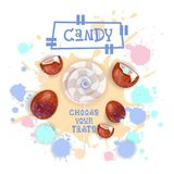 Süßigkeits-Kokosnuss Lolly Dessert Colorful Icon Choose Ihr Geschmack-Café-Plakat stock abbildung