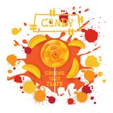 Süßigkeits-Pfirsich Lolly Dessert Colorful Icon Choose Ihr Geschmack-Café-Plakat lizenzfreie abbildung