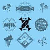 Süßigkeits-Shop-Aufkleber und Ikonen Lizenzfreie Stockfotos