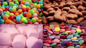 Süßigkeits-und Schokoladen-Snack-Montage stock video