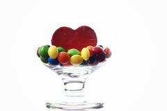 Süßigkeitsdragée im Glas Stockbilder