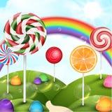 Süßigkeitsgartenhintergrund mit Regenbogen Lizenzfreies Stockfoto