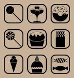 Süßigkeitsikonensatz Stockbilder
