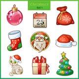 Süßigkeitskarikaturikonen stellten für Weihnachten und neues Jahr ein Lizenzfreie Stockfotografie