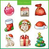 Süßigkeitskarikaturikonen stellten für Weihnachten und neues Jahr ein Lizenzfreies Stockfoto