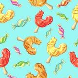 Süßigkeitsmuster des jungen Hahns Karamell auf Stock Lizenzfreies Stockbild