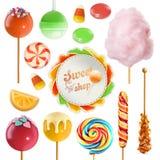 Süßigkeitssatz Ikone des Vektor 3d Stockbilder