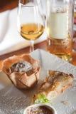 Süßspeise-Wein-Paarung Stockfotos