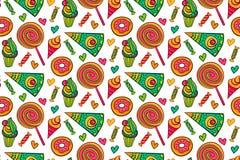 Süßspeisen vector nahtloses Muster Endloser Hintergrund mit Lutscher, Süßigkeit, Eiscreme, kleiner Kuchen, Donut, Kuchen, Herz Stockbilder