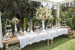 Süßspeisetabelle oder -Schokoriegel Hochzeitsfest Viele Weingläser auf grüner Tabelle Natürliche Leuchte Macaron und Meringepyram stockfoto
