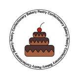 Süßwarengeschäft, Gebäck, Süßigkeiten, Bäckerei, selbst gemachtes Kuchenvektorlogo, Emblem, Aufkleber lizenzfreie abbildung