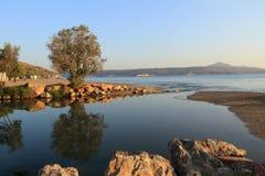 Süßwasserlagune des kiliaris potamos Flusses Stockfoto