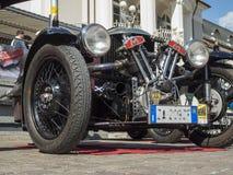 Süd-klassisches cars_2015_Morgan drei wheeler_front Tirols niedrig Lizenzfreies Stockbild