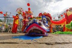 Süd-Lion Dance an der Augen-Eröffnungsfeier, Pagode Dame Thien Hau, Vietnam Lizenzfreies Stockfoto