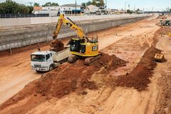 Süd- Straßenautobahnverbesserung in Adelaide, Süd-Australien Stockbild