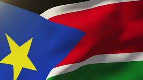 Süd-Sudan fahnenschwenkend im Wind Schleifungssonne vektor abbildung