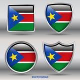 Süd-Sudan-Flagge in der Sammlung mit 4 Formen mit Beschneidungspfad Lizenzfreie Stockfotos