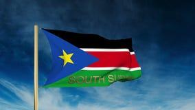Süd-Sudan-Flaggenschieberart mit Titel waving lizenzfreie abbildung