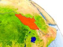 Süd-Sudan im roten Modell von Erde Stockbild