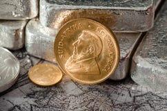 Südafrika-Goldmünze Kugurand Stockbilder